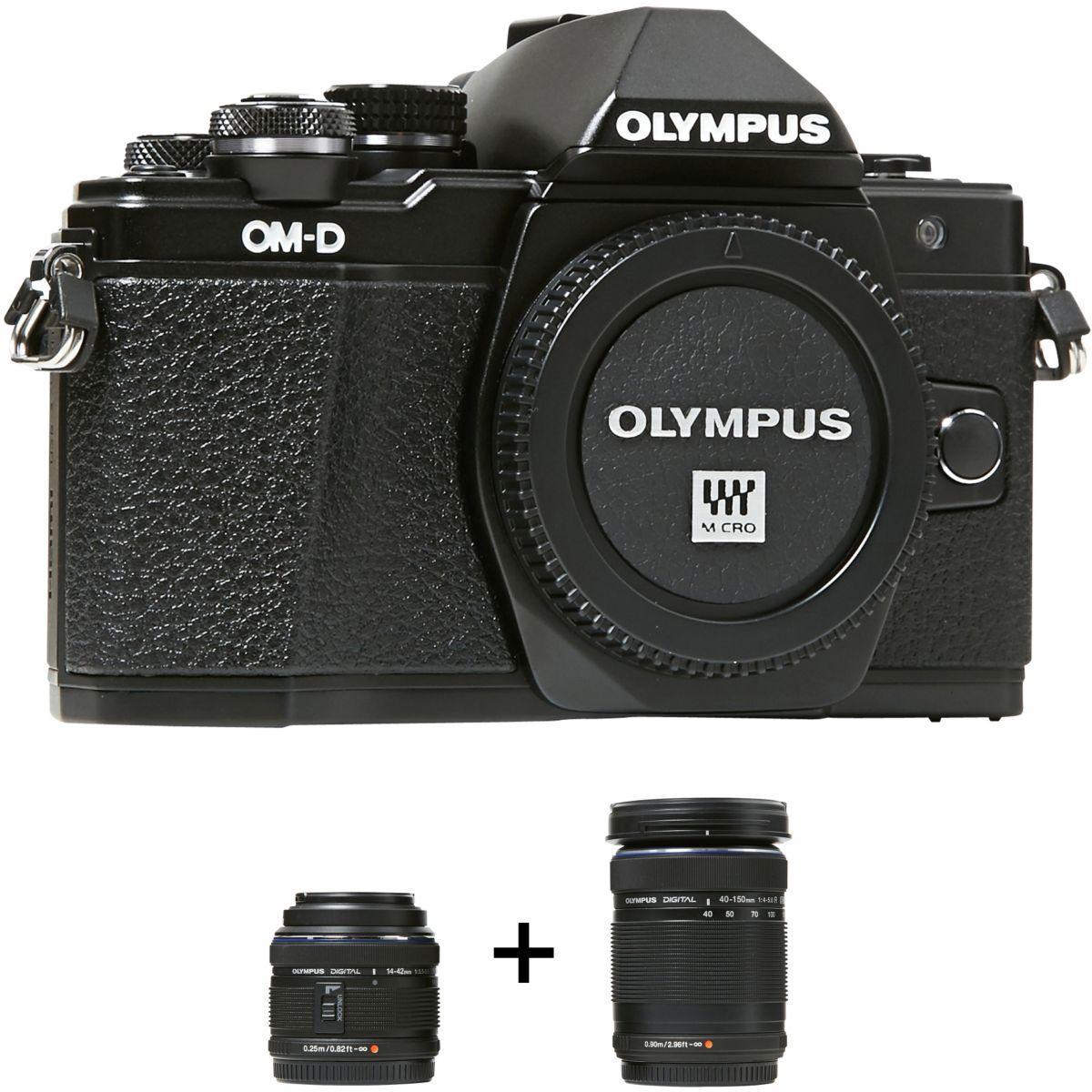 Appareil photo hybride OLYMPUS E-M10 MarkII noir + 14-42IIR + 40-150R