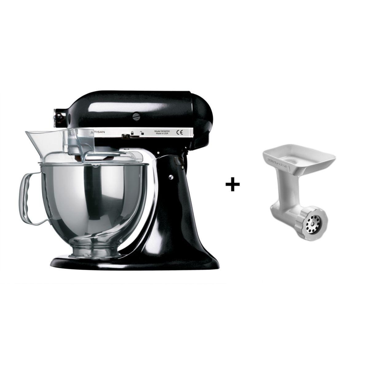 Robot pâtissier KITCHENAID 5KSM150PSEOB noir + hachoir 5FGA