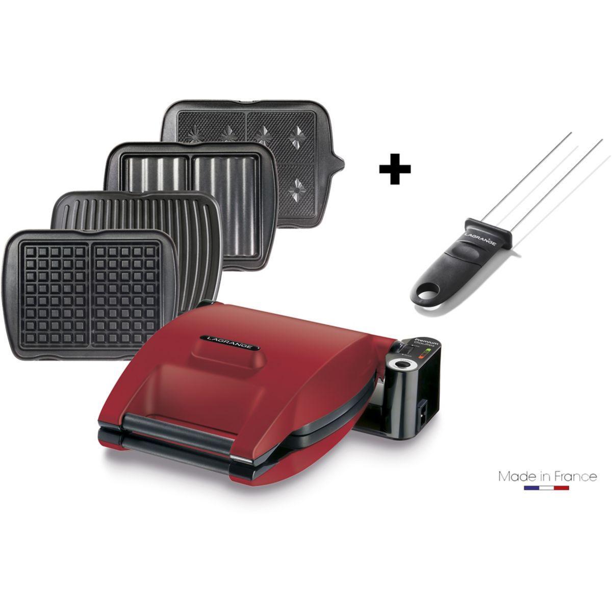 Croque, gaufre, gaufrette, gril LAGRANGE Premium 4 plaques rouge mat + pic inclus