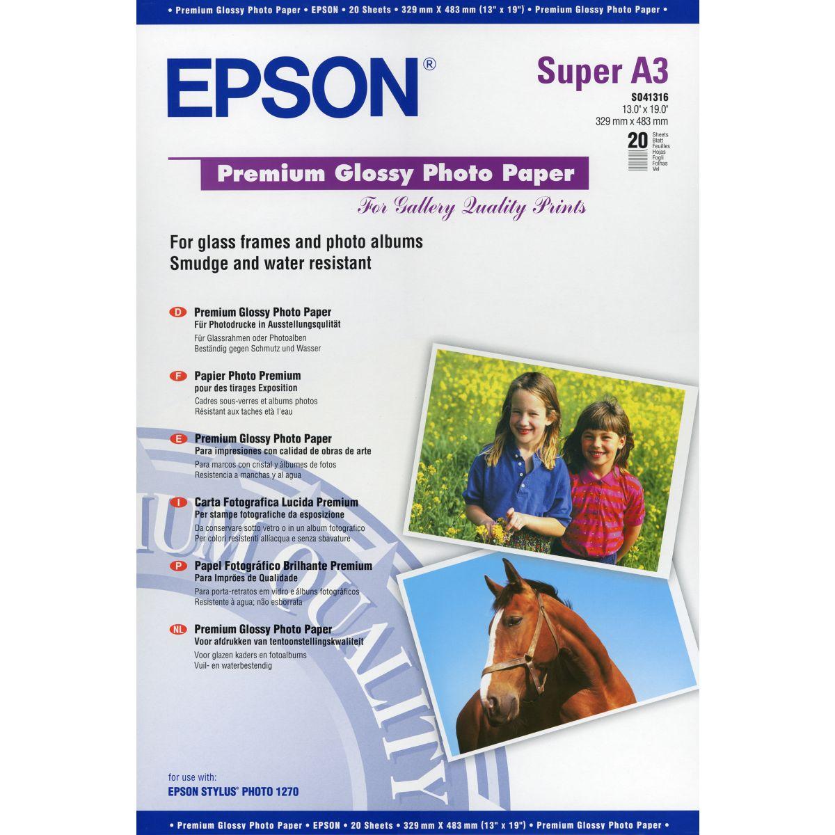 Papier photo EPSON A3+ - 20f- 255g/m²-