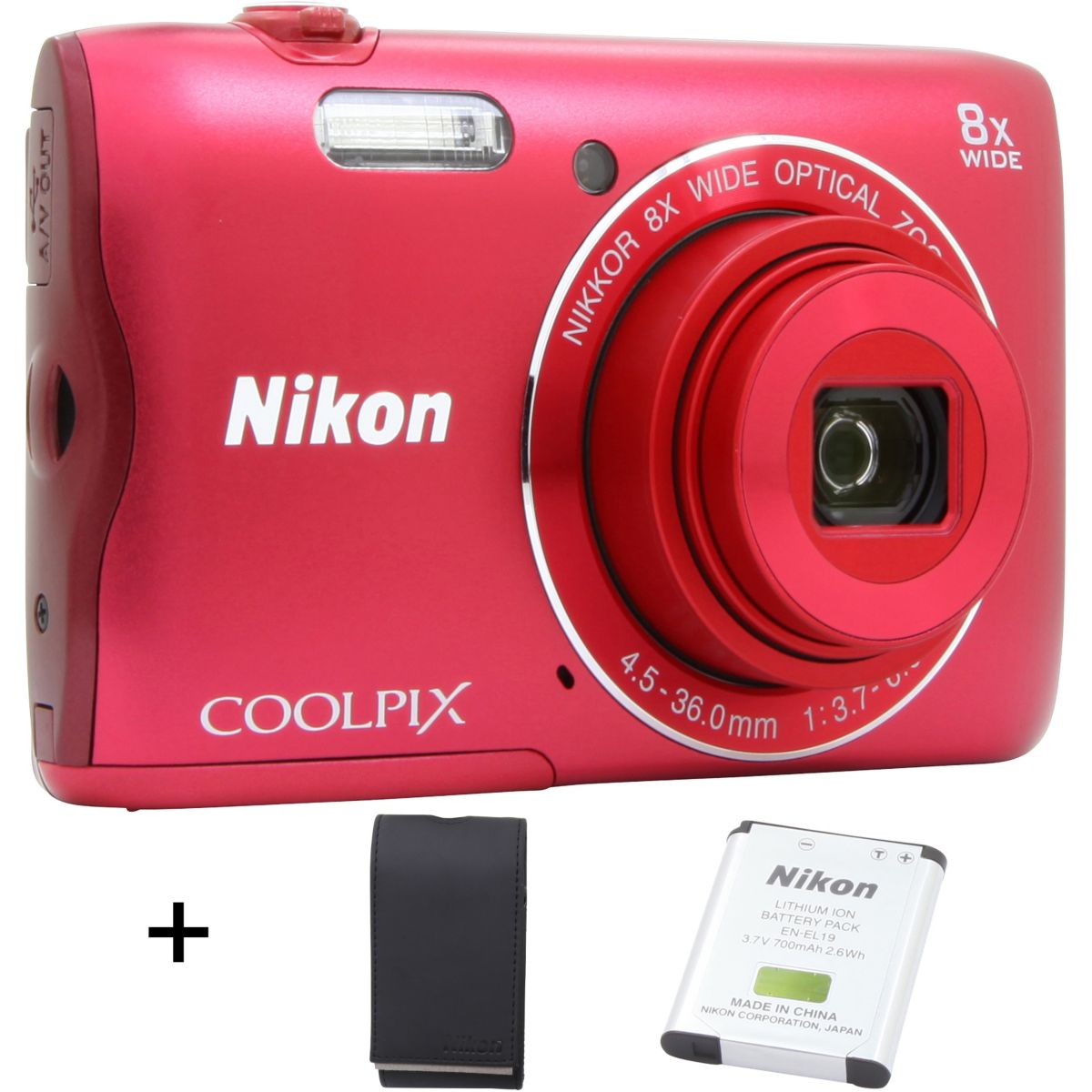 Appareil photo compact NIKON A300 Rouge + Etui
