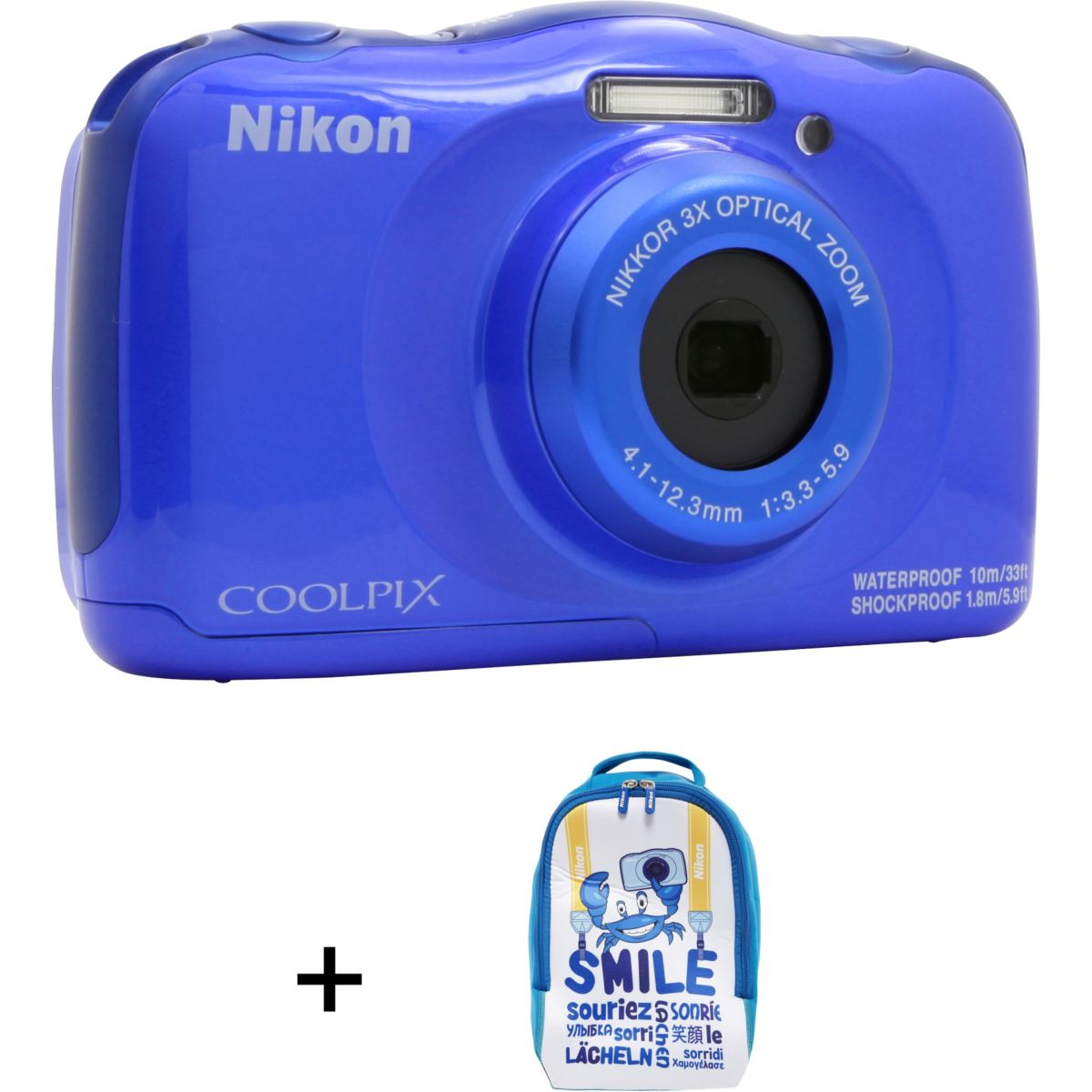 Appareil photo Compact NIKON Coolpix W100 Bleu + sac à dos