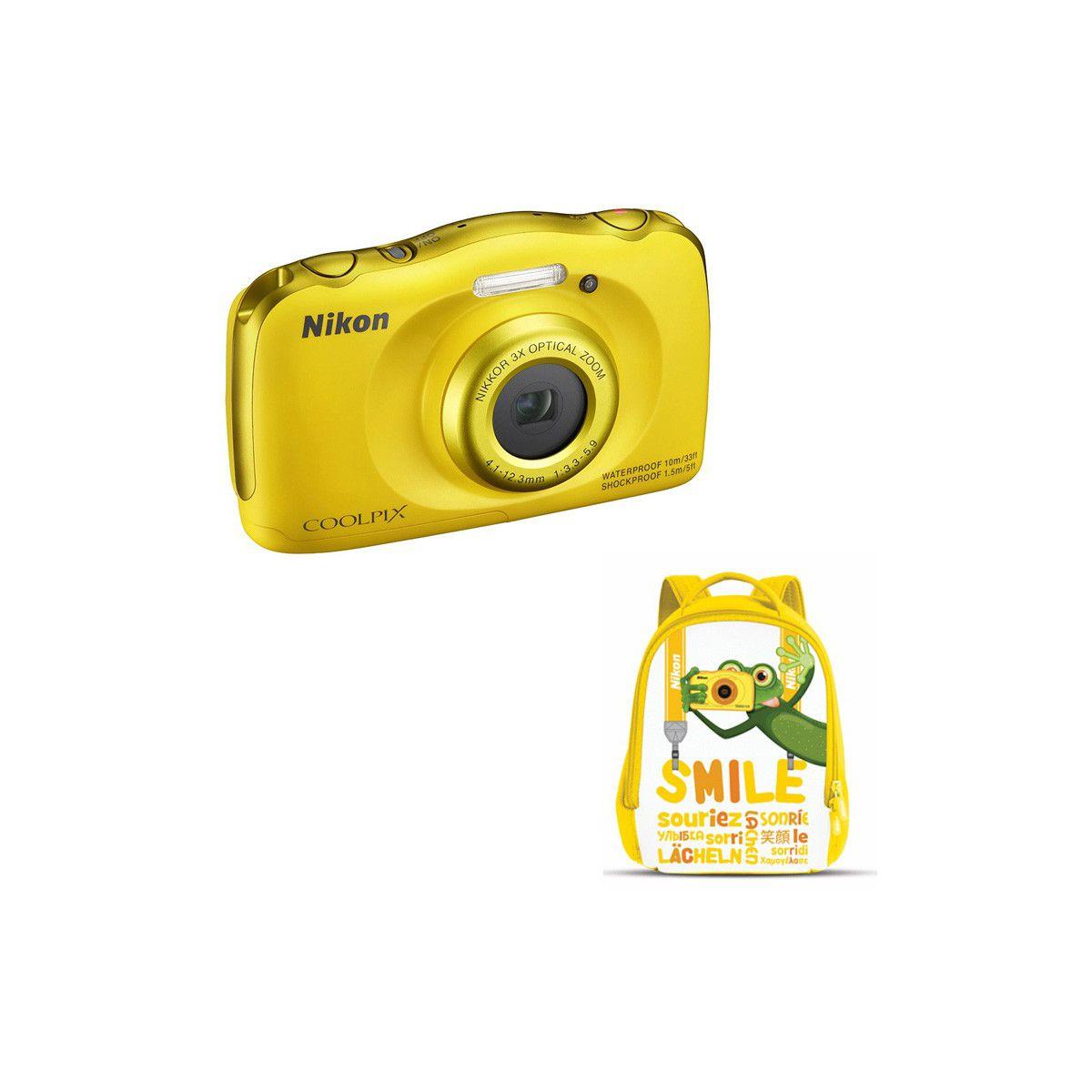 Appareil photo Compact NIKON Coolpix W100 Jaune + Sac à dos
