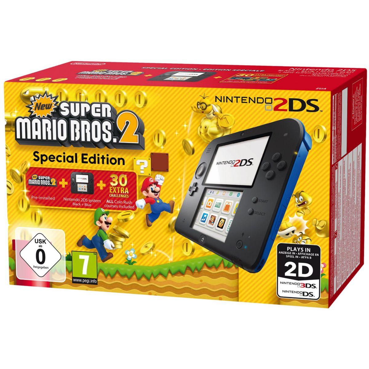 Console NINTENDO 2DS Noir/Bleu + New Super Mario Bros 2