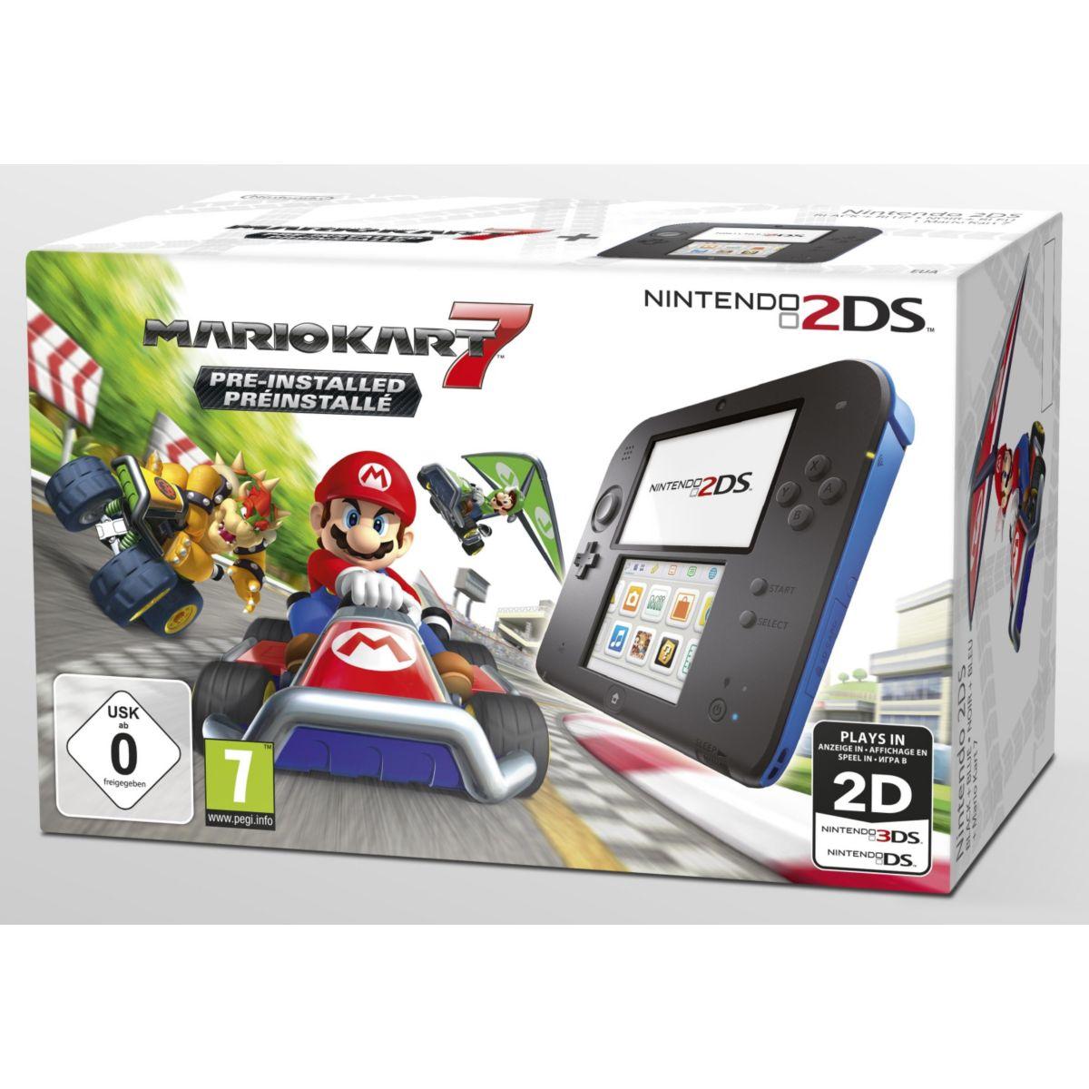 Console NINTENDO 2DS Noire/Bleue + Mario Kart 7