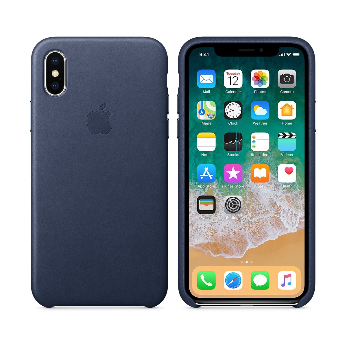Coque APPLE iPhone X cuir bleu nuit