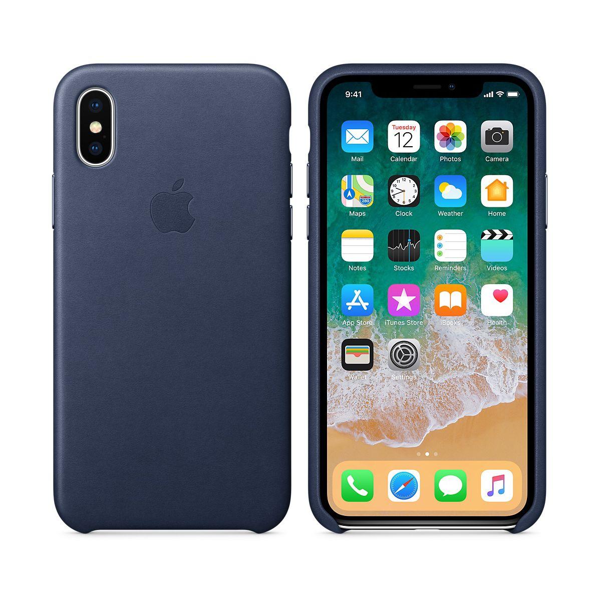 Coque APPLE iPhone X cuir bleu nuit (photo)