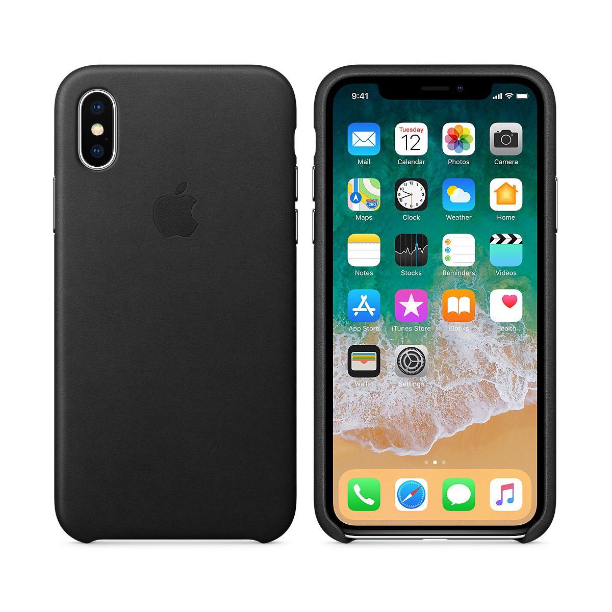 Coque APPLE iPhone X cuir noir (photo)
