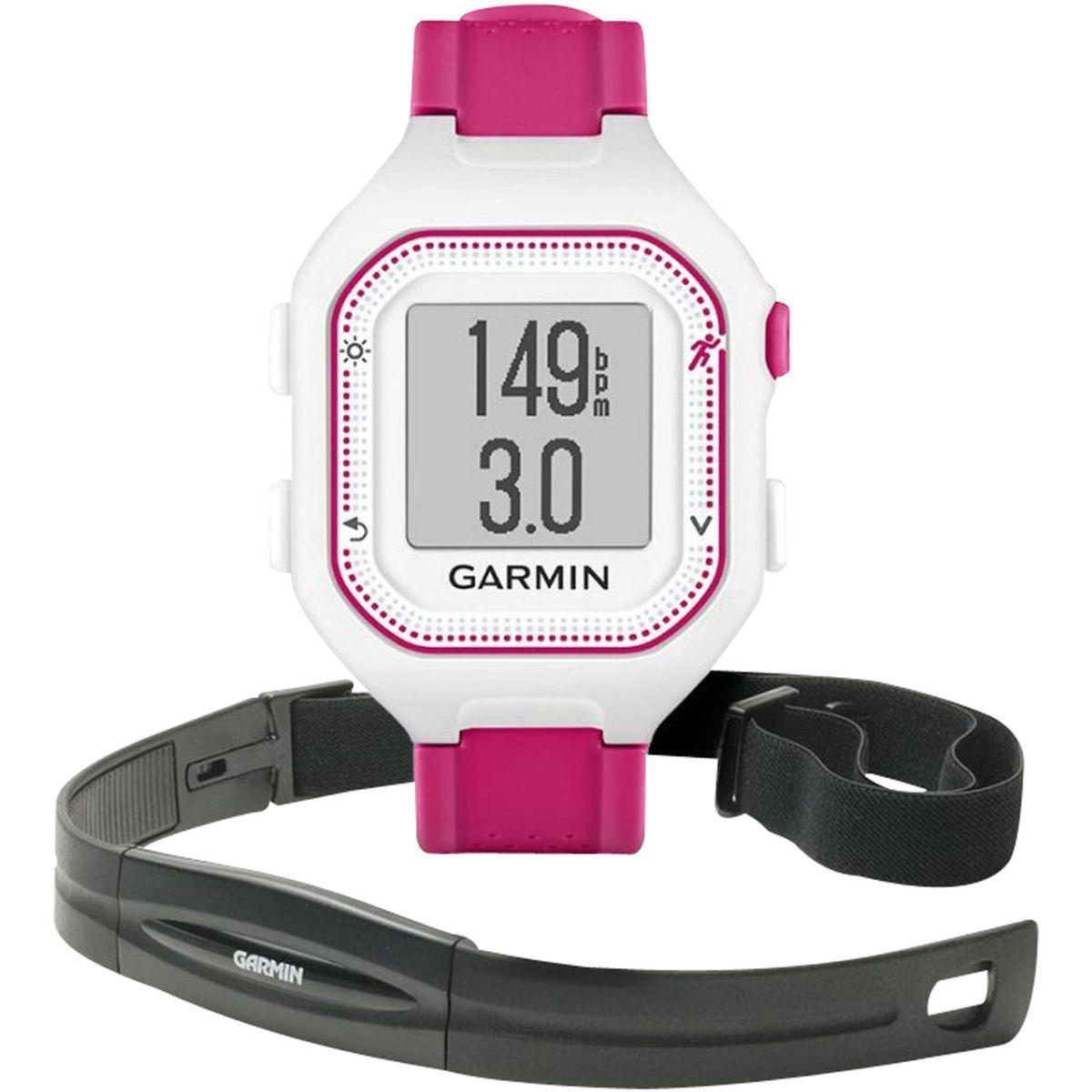 Montre sport GPS GARMIN Forerunner25 Blanc/Rose +Ceinture card...
