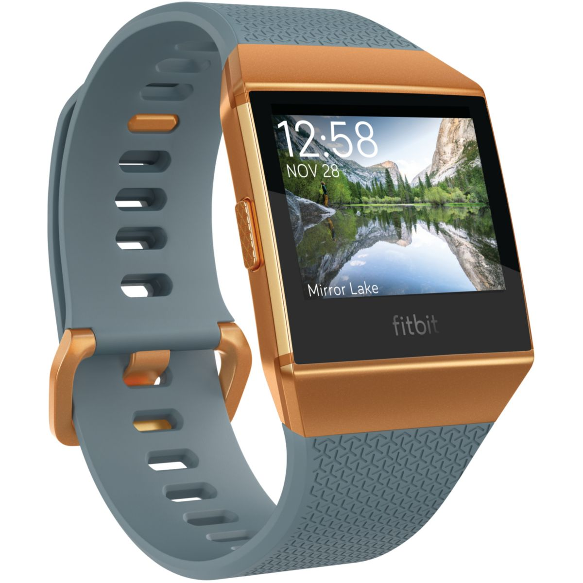Montre sport GPS FITBIT Ionic orange métallisé / bleu ardois...
