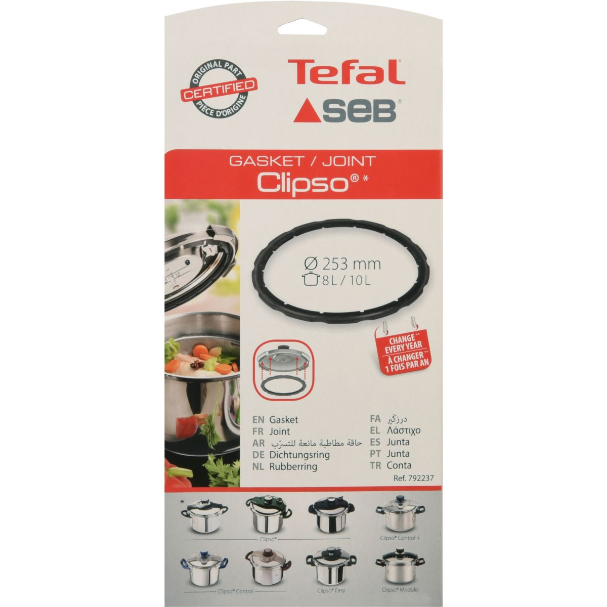 Joint pour autocuiseur Clipso 8-10L SEB 792237 (photo)