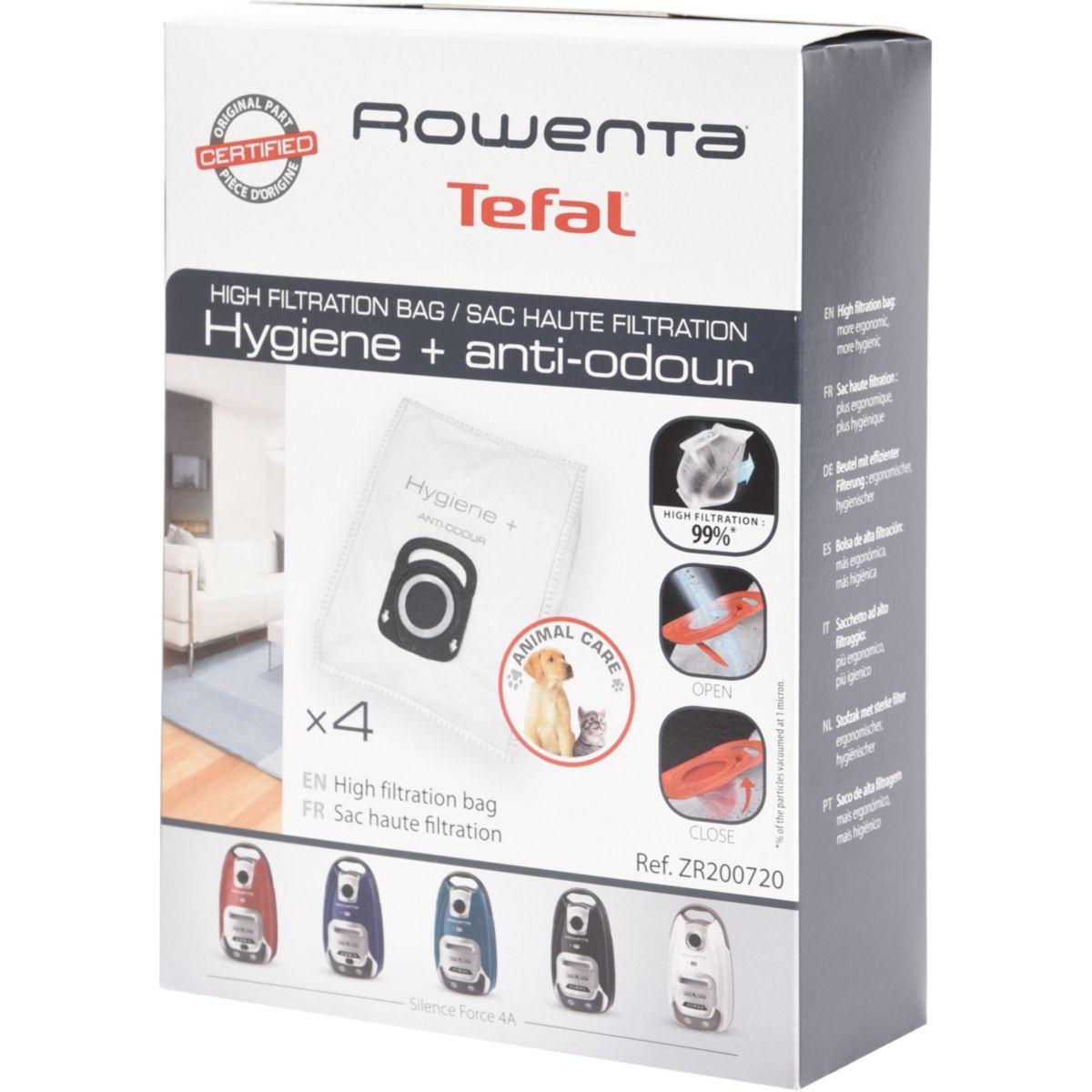 Sac aspirateur ROWENTA 4 sacs haute filt. hygiène+ anti odeur