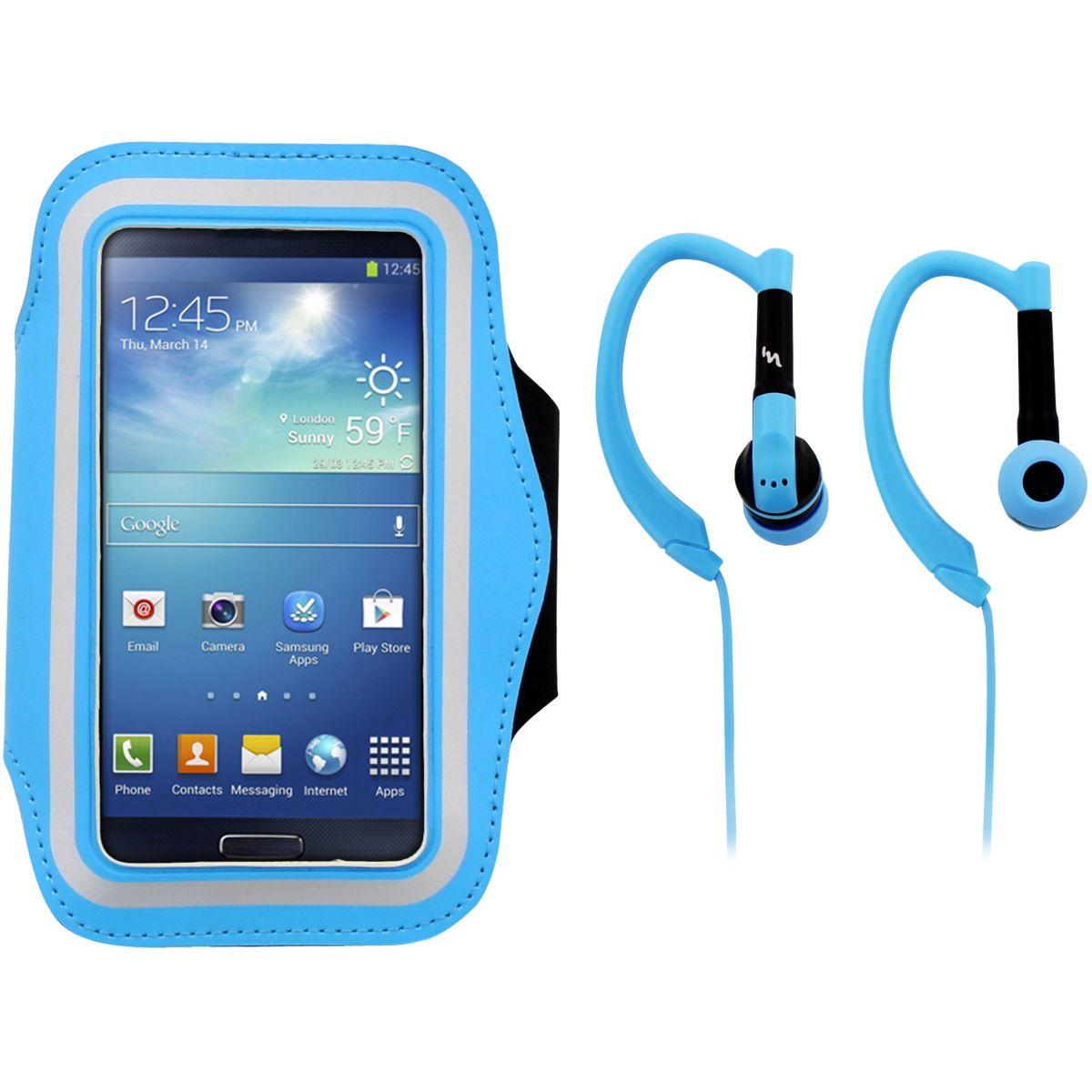 Brassard TNB + écouteurs sport bleu (photo)