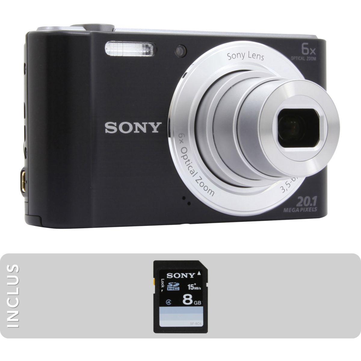 Appareil photo compact SONY Pack DSC-W810 noir + SD 8Go