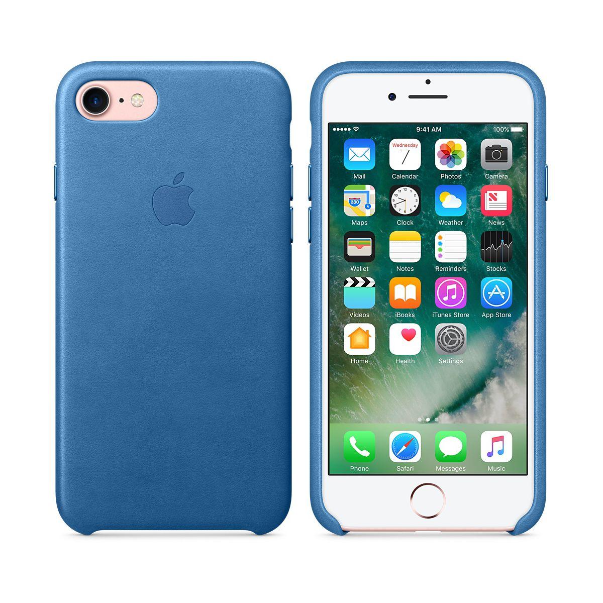 Coque APPLE iPhone 7 Bleu Méditerranée cuir (photo)