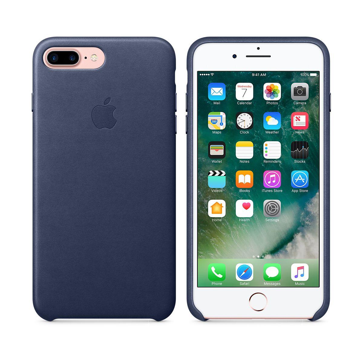 Coque APPLE iPhone 7 Plus cuir Bleu nuit (photo)