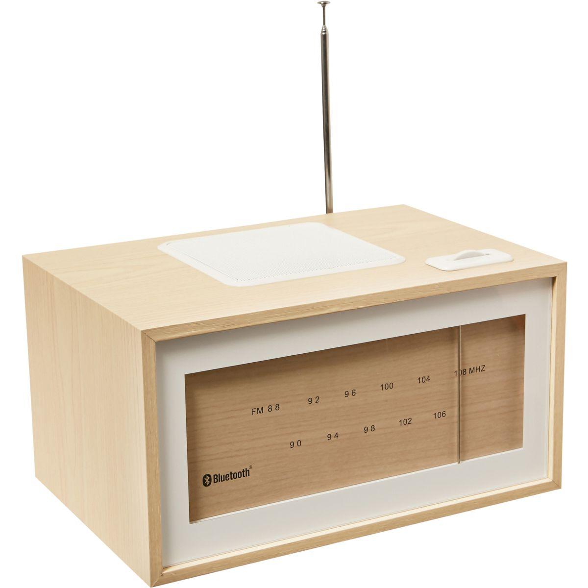 Radio analogique ESSENTIELB Be Trendy Bluetooth Bois Clair/Blanc