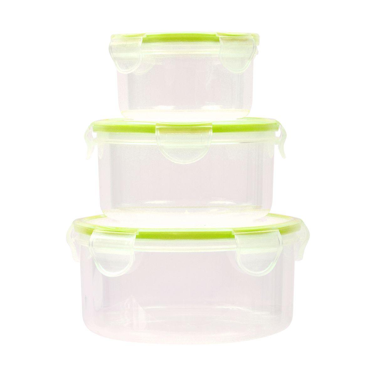 Boîte de conservation ESSENTIELB 3 boîtes plastiques rondes