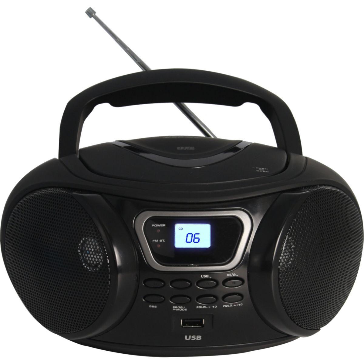 Radio CD ESSENTIELB Rumba USB MP3 Noir