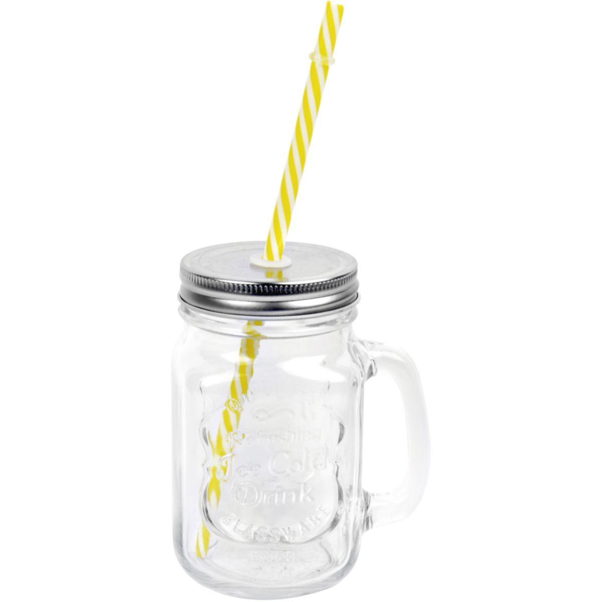 Mug ESSENTIELB Drinking Jar verre couv. et paille