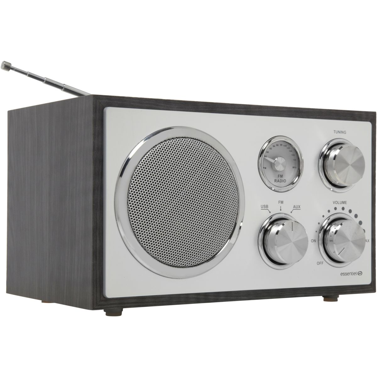 Radio analogique ESSENTIELB Madera USB Noir