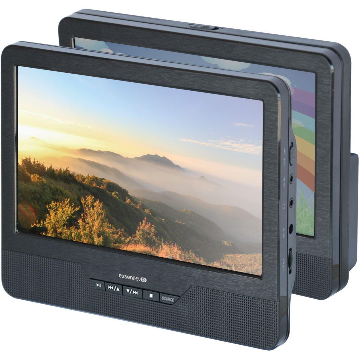 Lecteur DVD portable double écran ESSENTIELB Mobili MM9 + Support Voiture (photo)