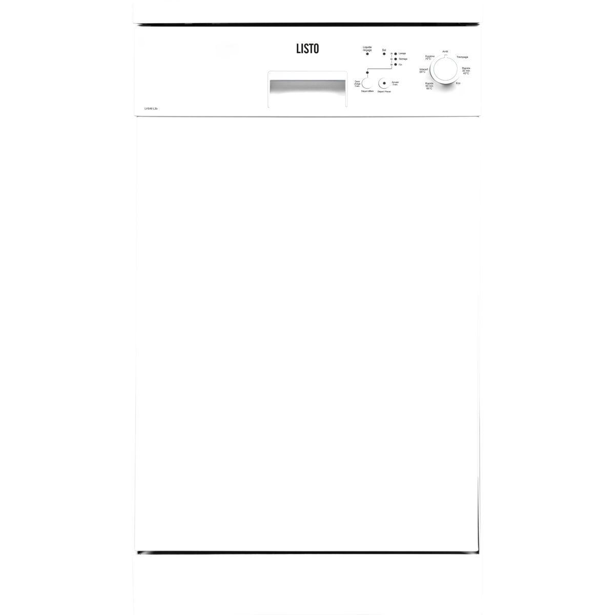 Lave-vaisselle compact 45cm LISTO LVS49 L3 blanc (photo)