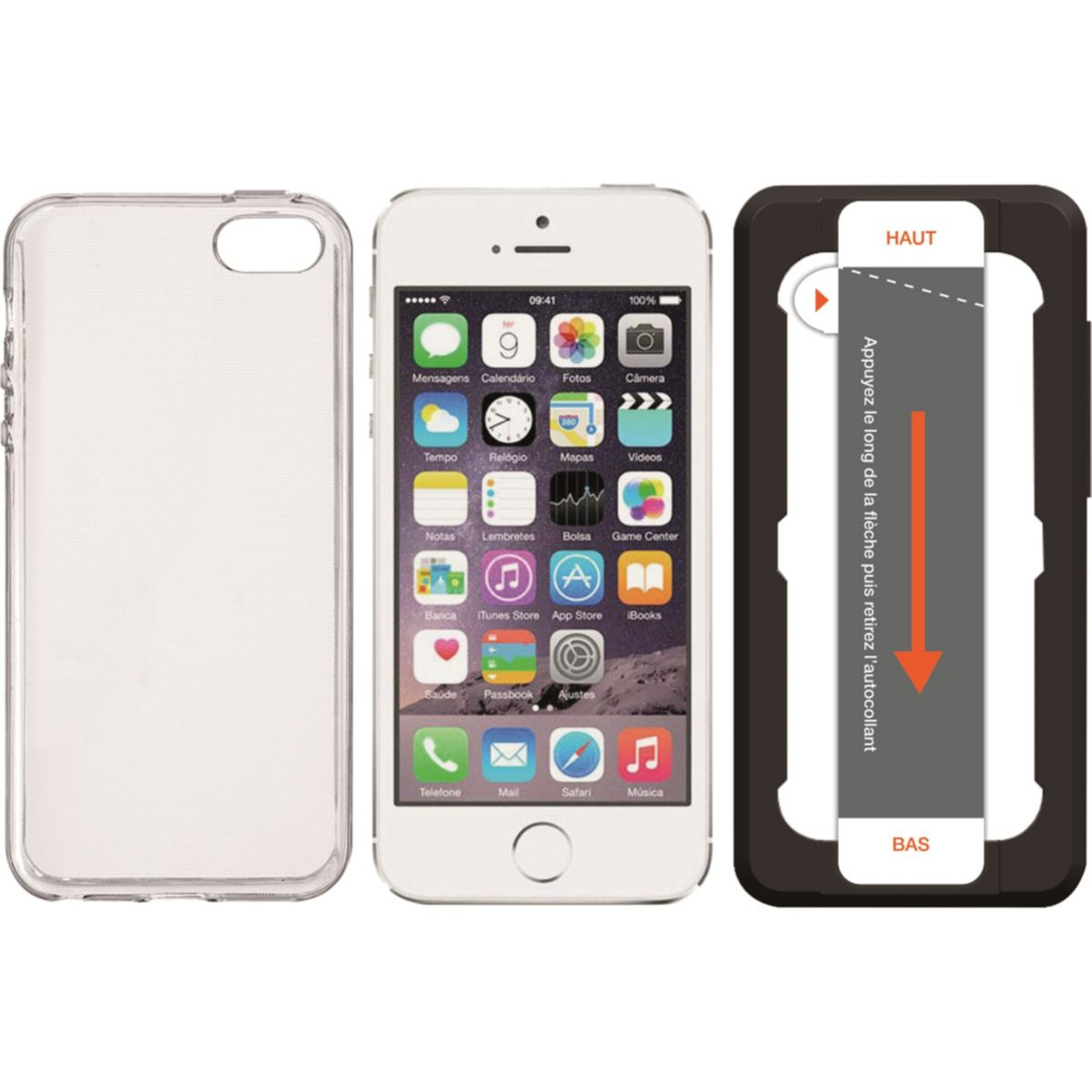 Coque + Protège écran ESSENTIELB iPhone 5S/SE Coque +Verre+Applicateur (photo)