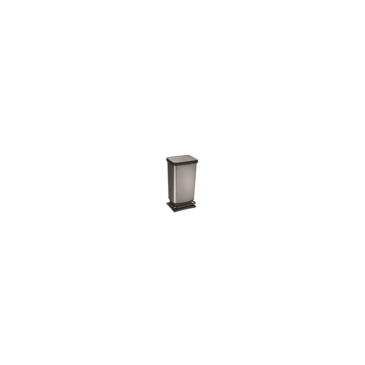 Poubelle manuelle ESSENTIELB rectangulaire à pédale Carbone 40L (photo)