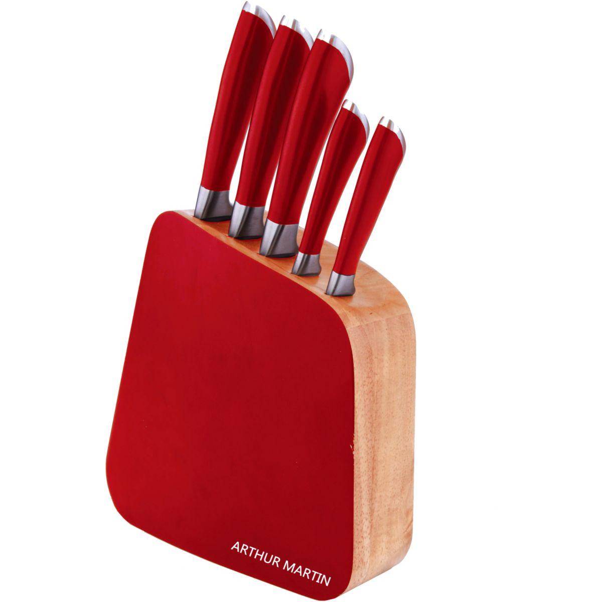 Bloc couteaux ARTHUR MARTIN rouge + 5 co (photo)