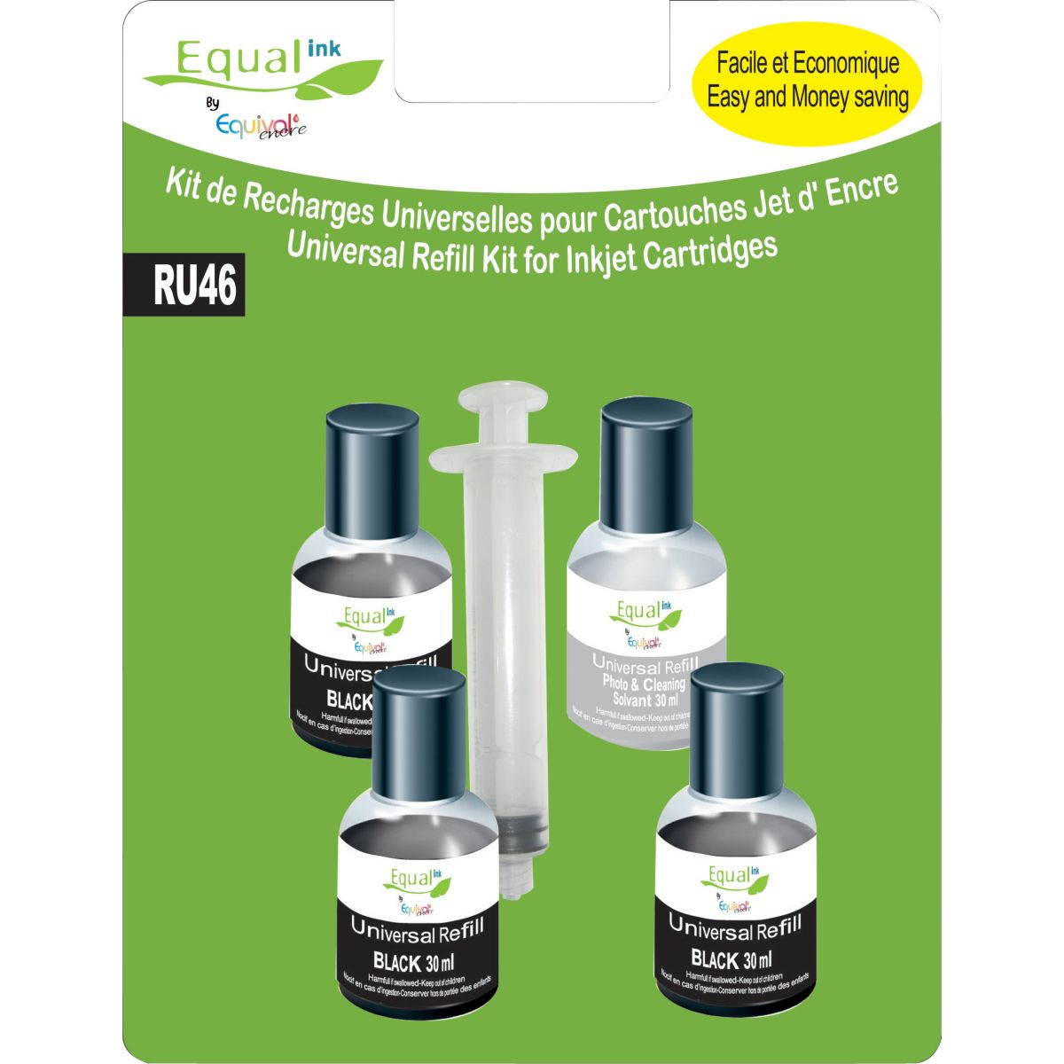 Recharge universelle EQUAL'INK 4 Recharges universelles noire+solvant
