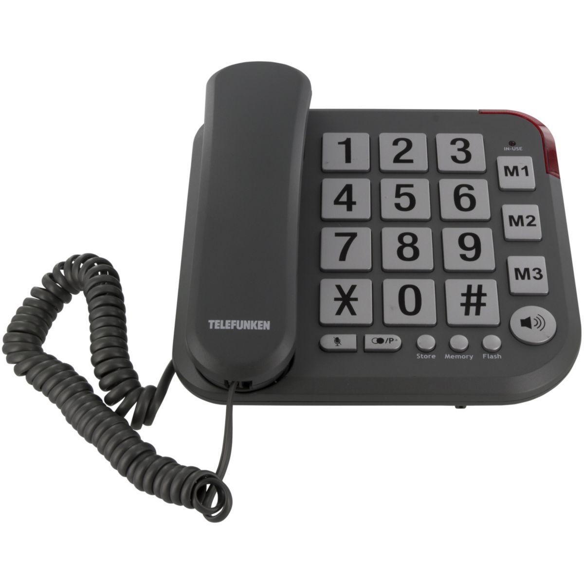 Téléphone filaire TELEFUNKEN TF401 Solo Noir