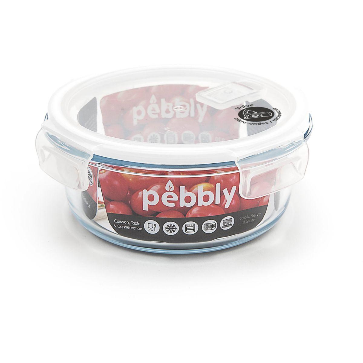 Boîte de conservation PEBBLY ronde en verre borosilicate 950ml