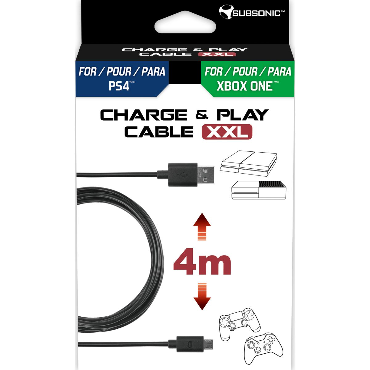 Câble de recharge SUBSONIC Cable Charge & Play 4m PS4/Xbo...
