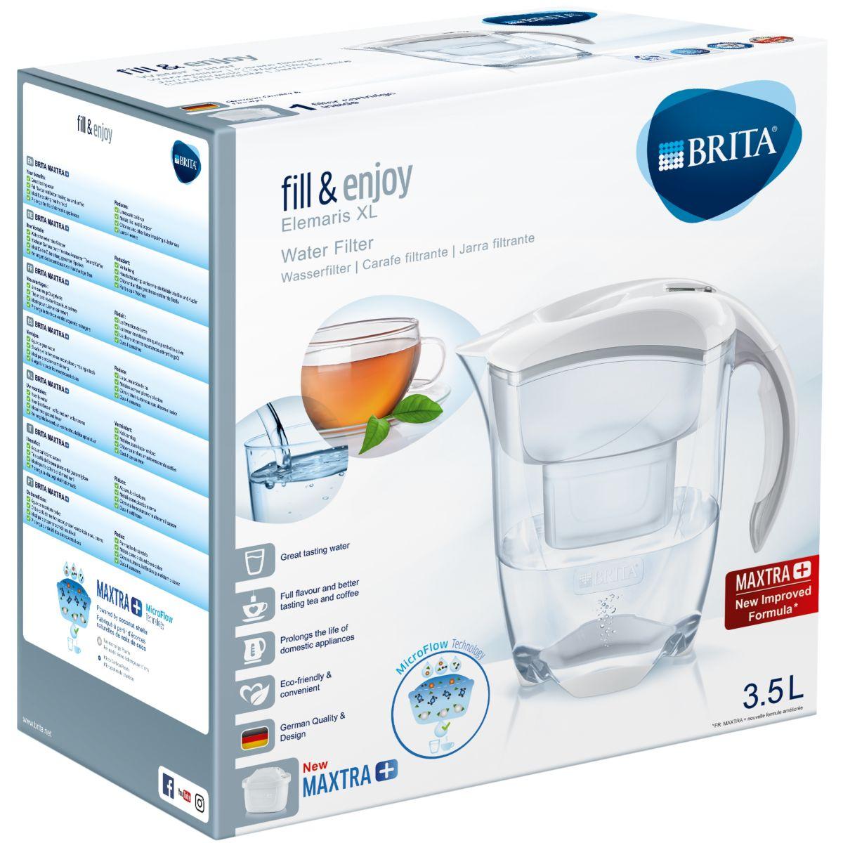 Carafe filtrante BRITA Elemaris XL blanc + 1 cartouche Maxtra+