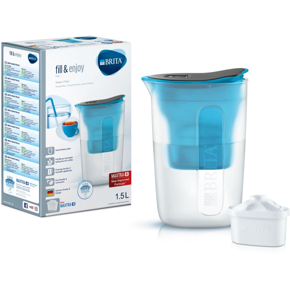 Carafe filtrante BRITA Fun bleu + 1 cartouche Maxtra+