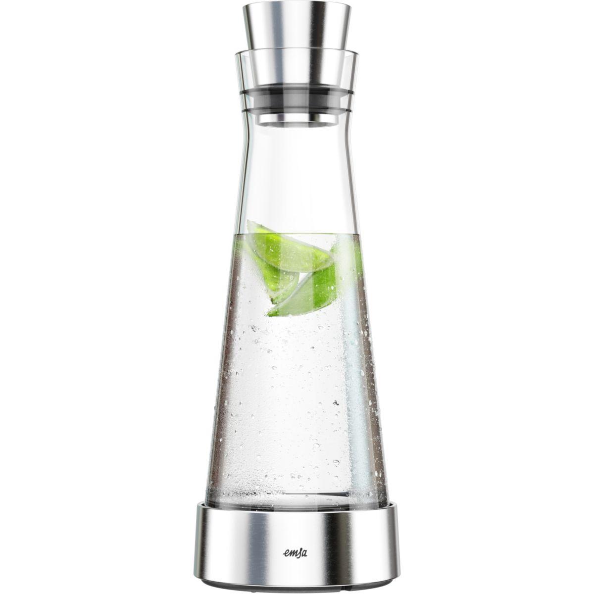 Carafe EMSA Flow Slim verre et inox 1L