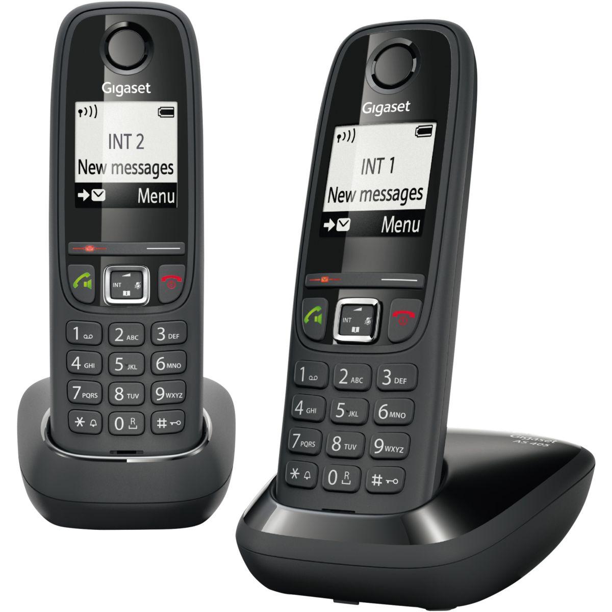 Téléphone sans fil GIGASET AS405 Duo Noir