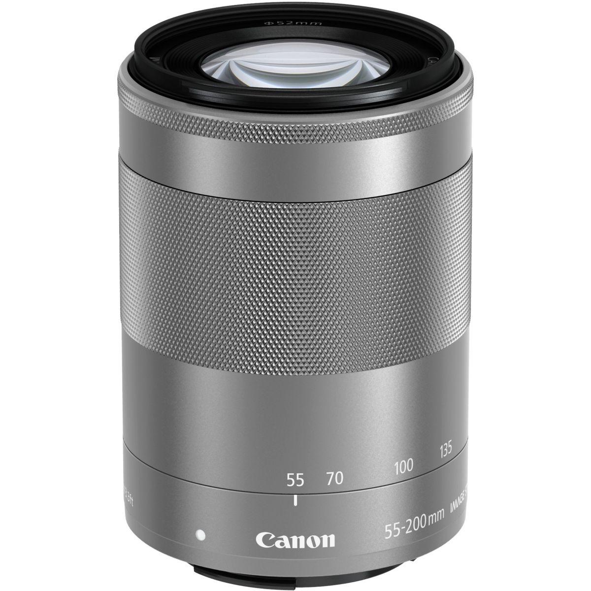 Objectif pour Hybride CANON EF-M 55-200mm argent f/4.5-6.3 IS ...