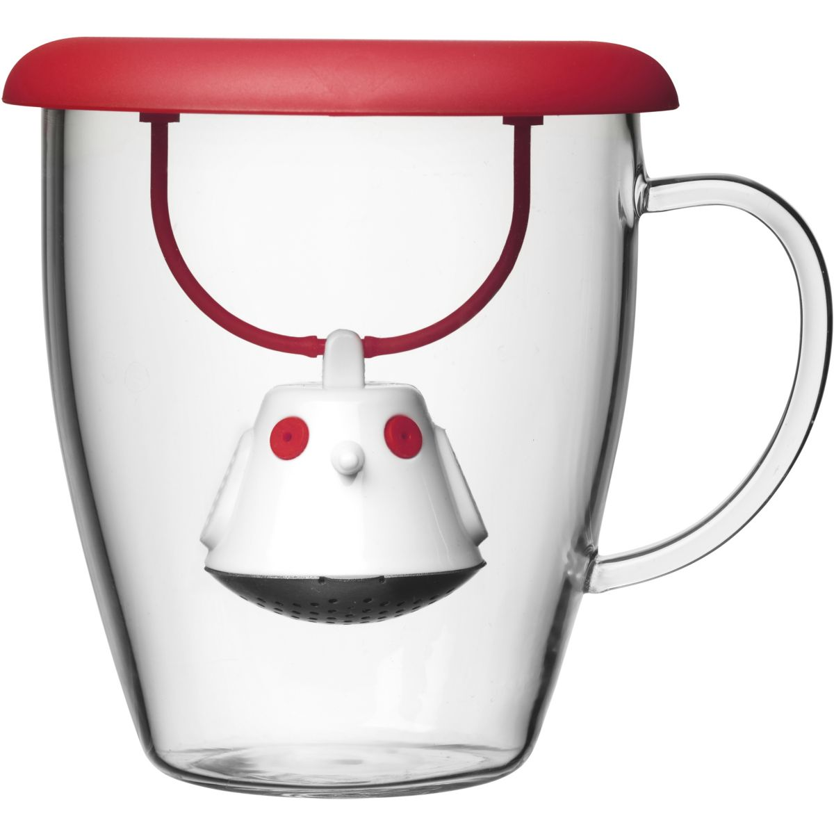 Tasse N2J Et couvercle infuseur à thé Birdie rouge