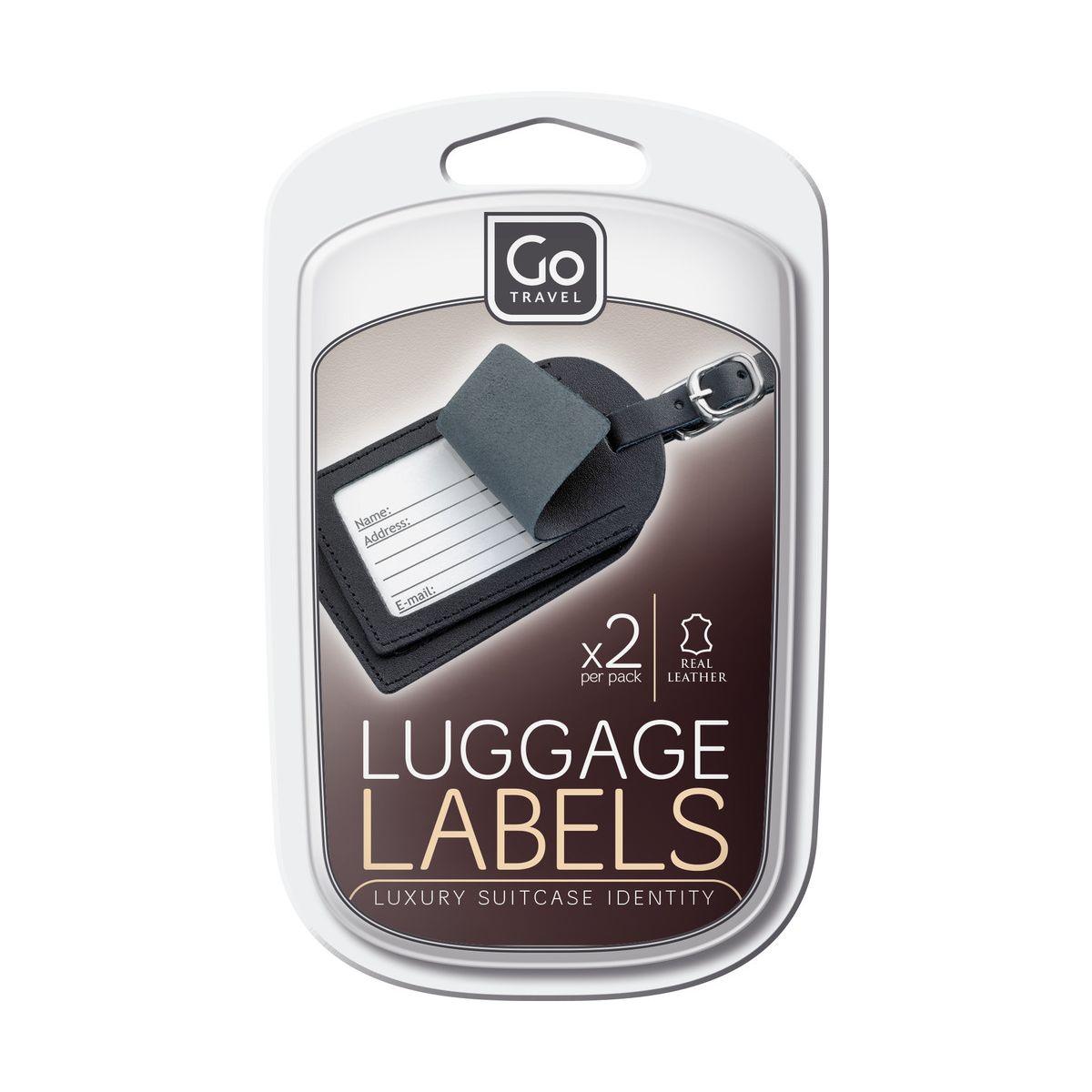 Etiquette de transport GO TRAVEL Porte adresse en cuir (2 piè...