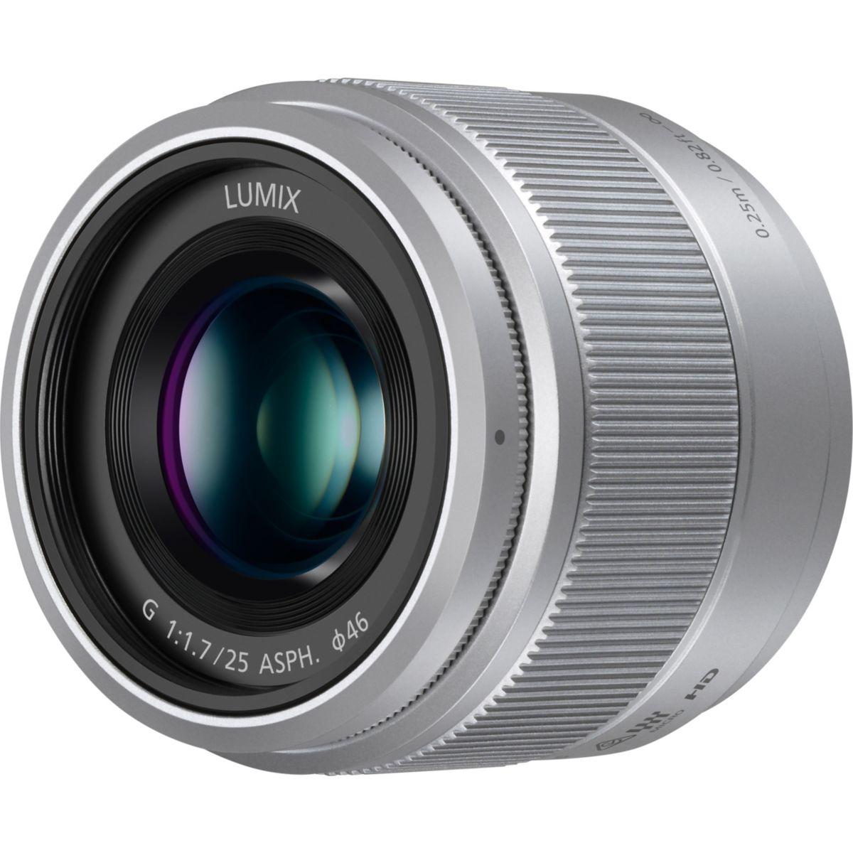 Objectif PANASONIC 25mm f/1.7 Lumix G argent