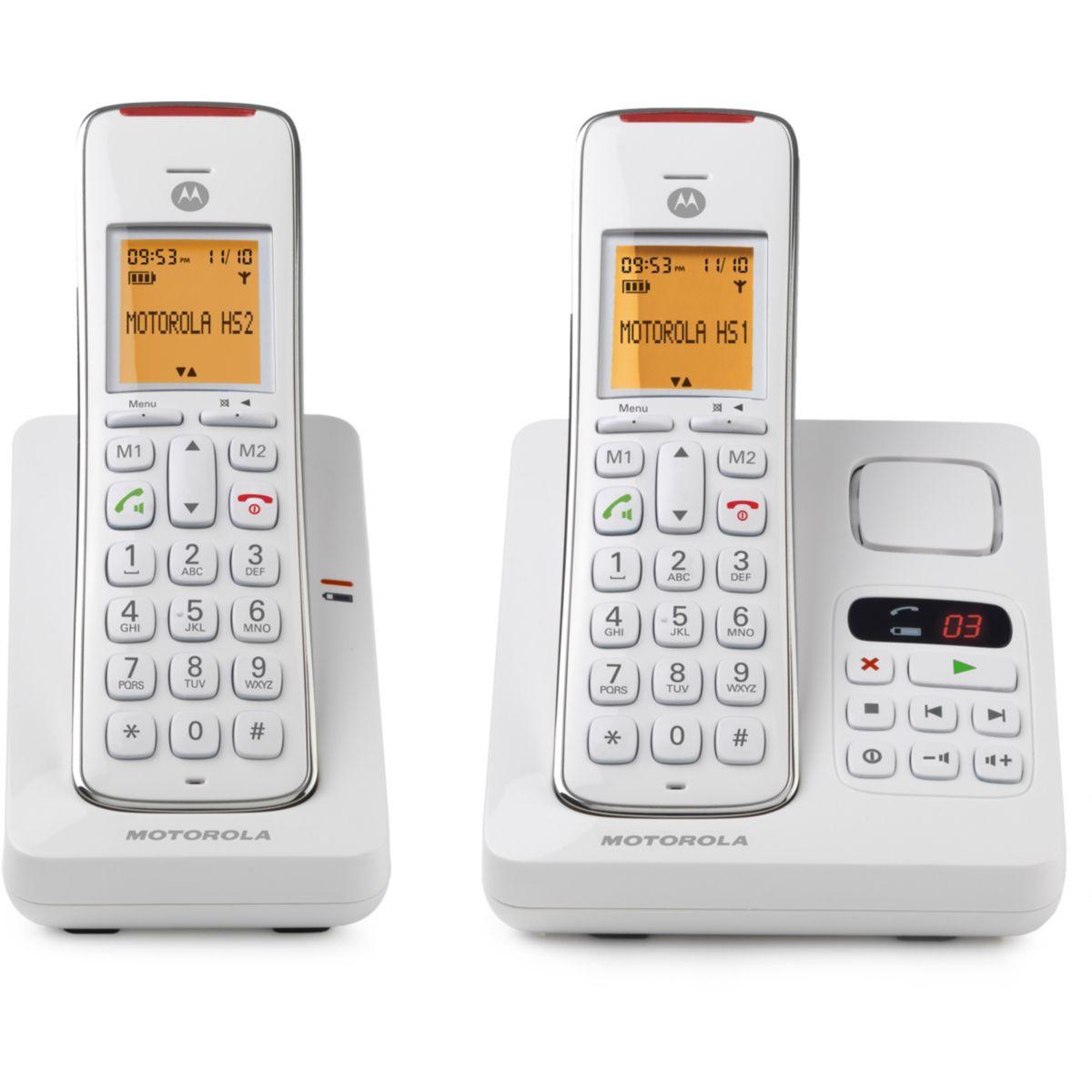 Téléphone sans fil MOTOROLA CD212 Duo Rép Blanc