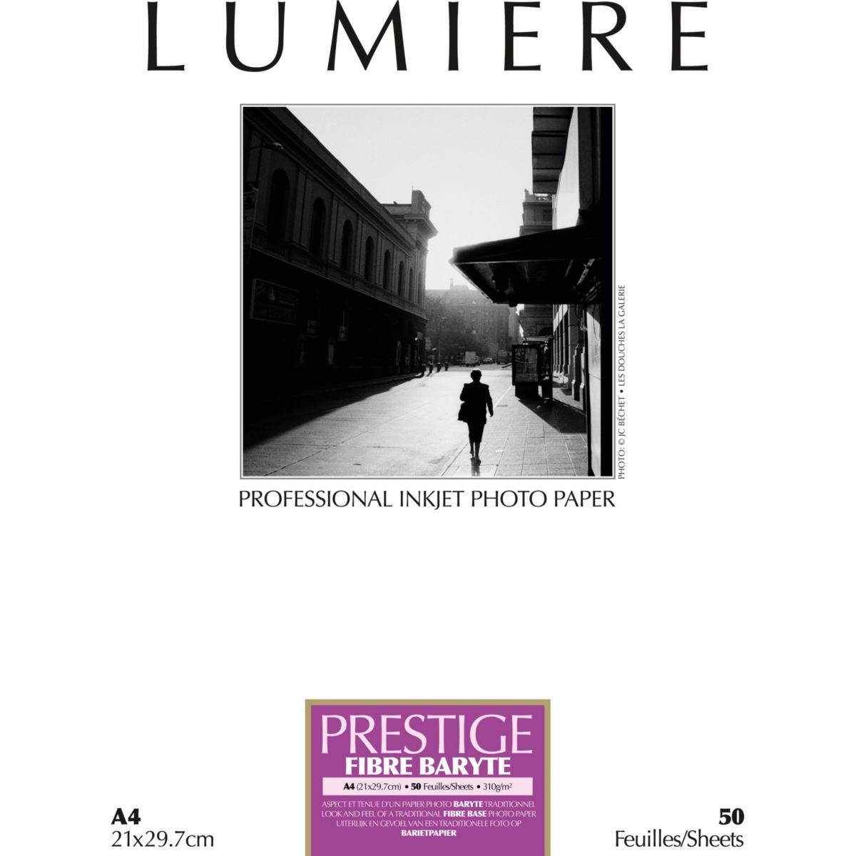 Papier photo LUMIERE Prestige Fibre Baryte 50f A4 310g