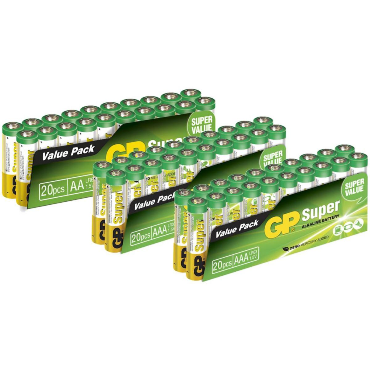 Pile GP 20 AA/LR06 + 40 AAA/LR03 (photo)