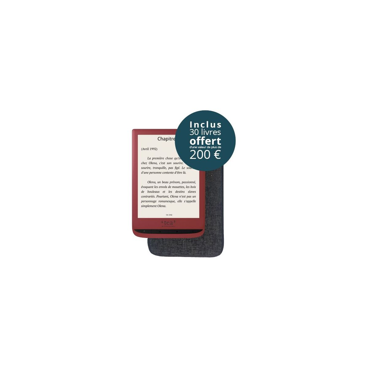 e-book TEA Pack Touch Lux 4 rouge + housse +10Epub (photo)