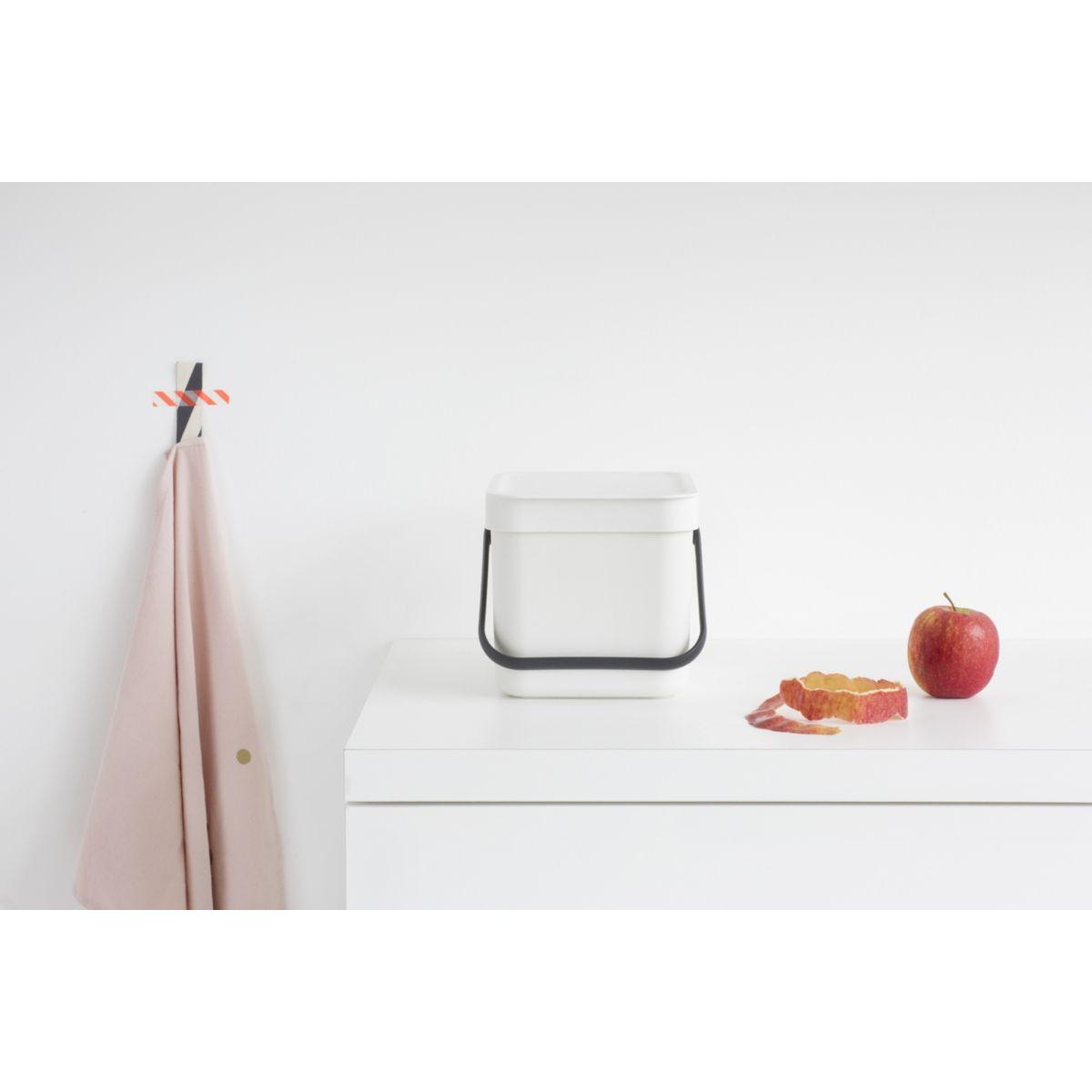 Poubelle manuelle BRABANTIA Waste Bin Sort & Go 6L White (photo)