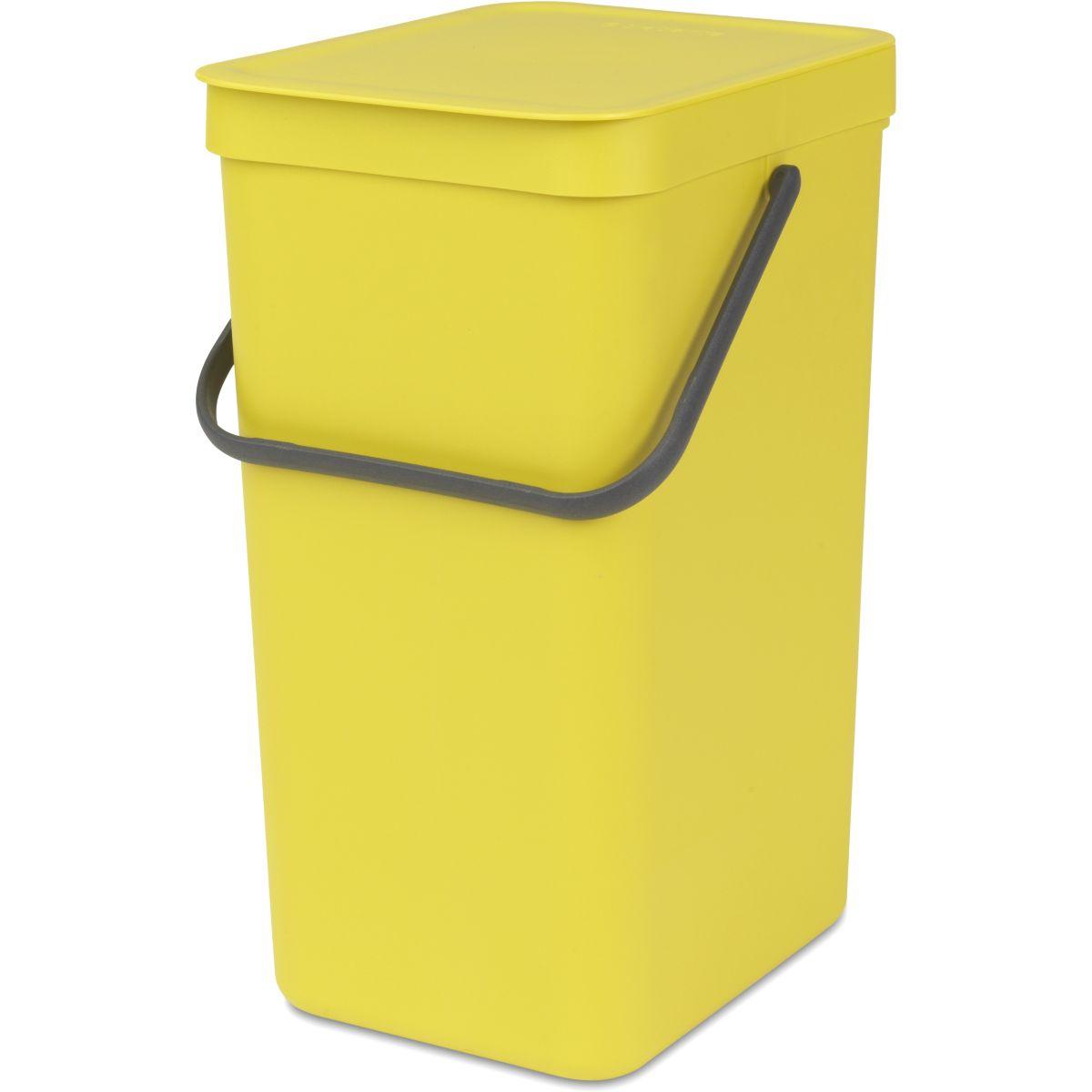 Poubelle manuelle BRABANTIA Waste Bin Sort & Go 16L Yellow (photo)