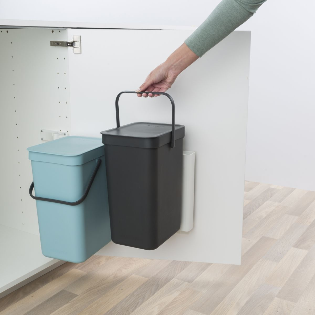Poubelle manuelle BRABANTIA Built-in Bin Sort & Go 2x12L Mint & Grey