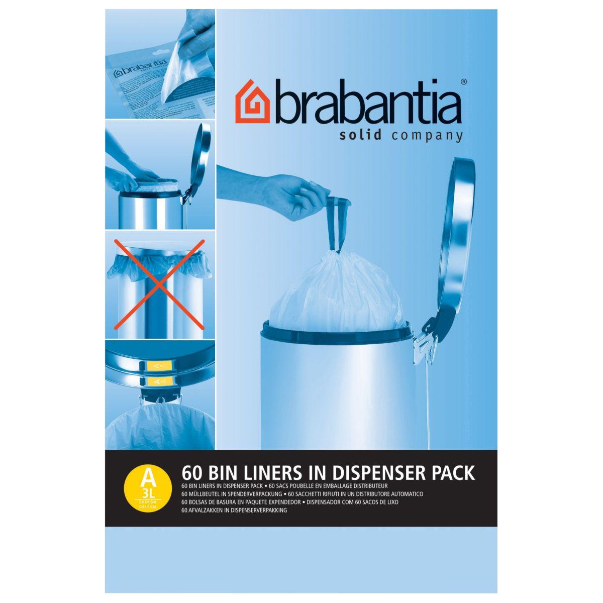 Distributeur BRABANTIA sacs poubelle 3L(60sacs/distributeur)
